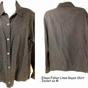 Eileen Fisher sz M Black Linen Rayon Shirt Jacket